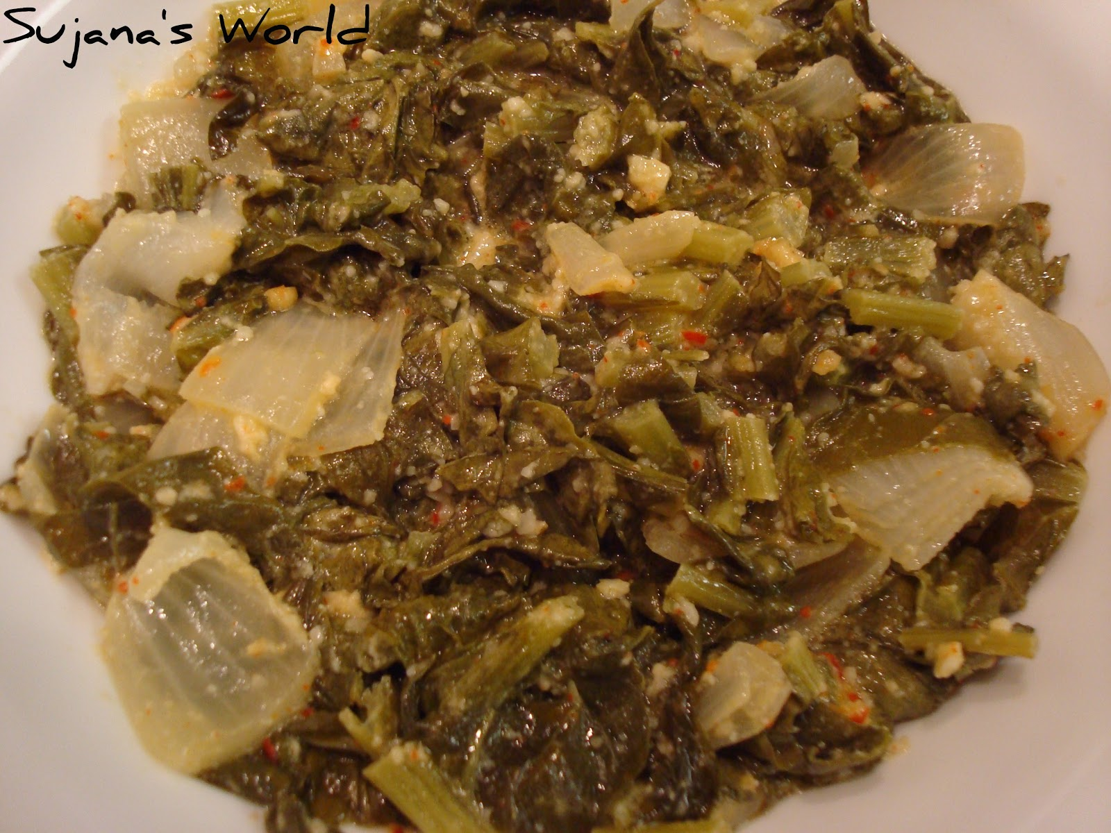 Sujana's World: Baked Turnip Greens