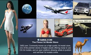 sito e-commerce modelli 3D per ogni tipo di software: 3D studio, ligtwave, maya, cinema 4D, bryce, rhino, poser, ecc.