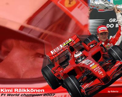 sfondo kimi raikkonen campione del mondo di F1 2007 con la Ferrari