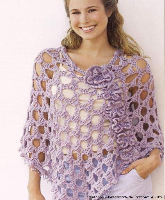 Patrones de ponchos tejidos a crochet - Imagui