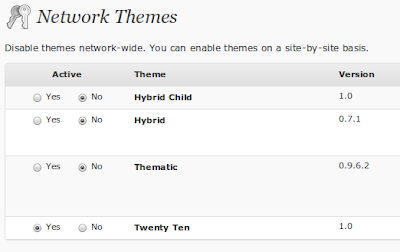 Manage Themes MultiSite WordPress 3.0