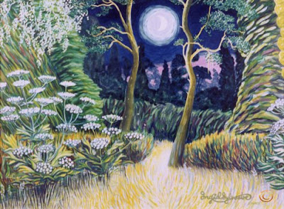 Moon over the Circular Garden Poole Wood Grey Towers Nunthorpe painting in acrylic by Ingrid Sylvestre North East artist Durham artists UK