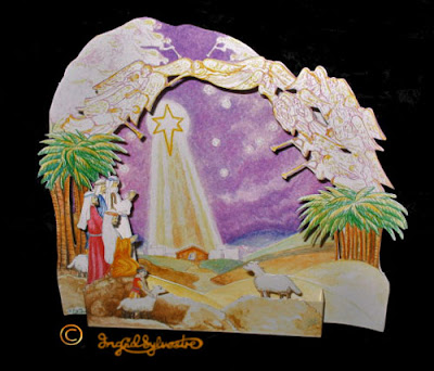 3D Pop up Christmas Cards by UK Artist Ingrid Sylvestre Printed on quality card and die cut to fully pop up - Nativity Star