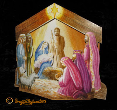 3D Pop up Christmas Cards by UK Artist Ingrid Sylvestre Printed on quality card and die cut to fully pop up - Stable Nativity