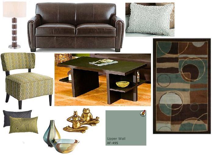Wall Decor For Brown Furniture : Joy of decor brown sofa blue walls