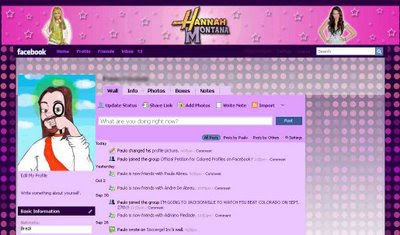facebook skin layout - theme for facebook with  Hannah Montana