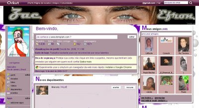 Tema skin para Orkut zac efron, orkut, temas, skin, layout