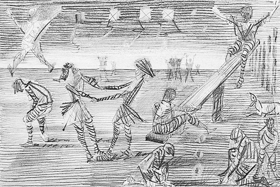 Meninos jogando bola de gude
