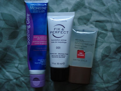 drugstore primers monistat, rimmel and revlon