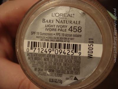 loreal bare naturale foundation ingredient listing