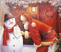 santa and snowman paintings for desktop