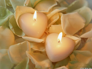 Romantic Heart Candles Wallpaper