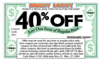 Hobby lobby discount coupons