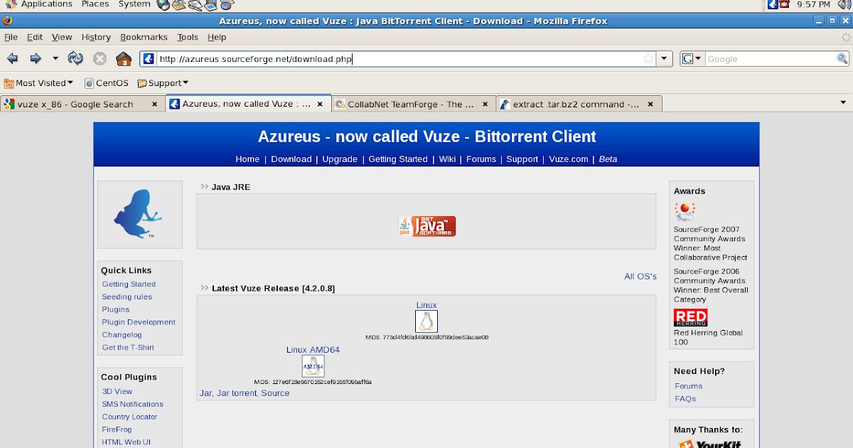 Linux Administration Guide Install Vuze Azureus Bittorent Client
