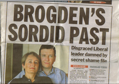 Image shows Daily Telegraph front page headline, Brodgen's Sordid Past, just before Brogden's suicide attempt