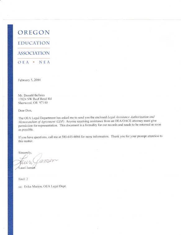 "Notice from Oregon Education Association about beginning legal ""advocacy"""