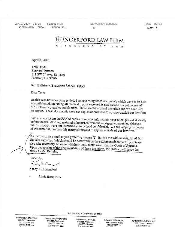 April 2006 letter from Nancy Hungerford to OEA atty Tom Doyle