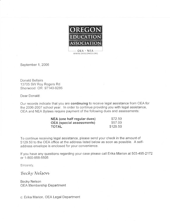 September 2006 bill from OEA for legal services