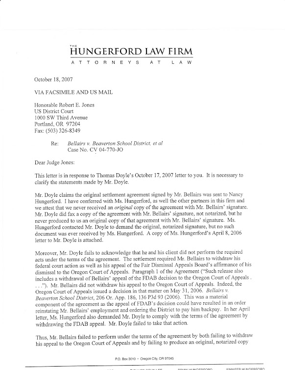 October 2007 letter from (former) BSD attorney Hungerford to Judge Robert E. Jones
