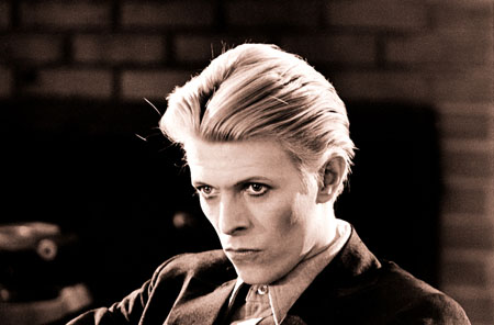 David Bowie as Thomas Jerome Newton in 'The Man Who Fell to Earth'. Photograph by Geoff MacCormack