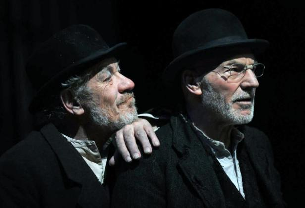 Ian McKellen (Estragon) and Patrick Stewart (Vladimir) starring in the new UK Production of Samuel Beckett's 'Waiting for Godot'