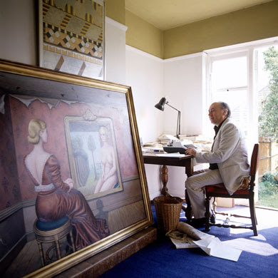 1987: JG Ballard working at his writing desk in his Shepperton home. Photograph: Martyn Goddard/Rex Features