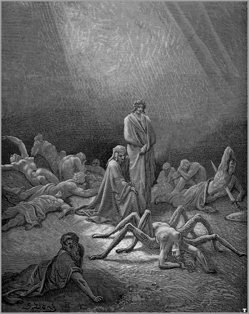 Gustave Doré's etching of Arachne, from the twelfth canto of Dante's Purgatory