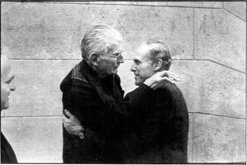 Samuel Beckett hugs publisher Barney Rosset