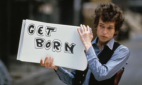 Bob Dylan on the set of his music video Subterranean Homesick Blues. Photograph: Tony Frank/Corbis