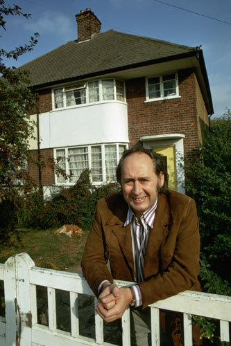 1970: JG Ballard outside the house in Shepperton, Surrey. Photograph: David Reed/Corbis