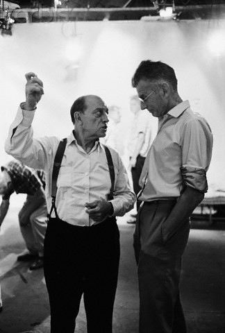 Buster Keaton and Samuel Beckett on set of Film