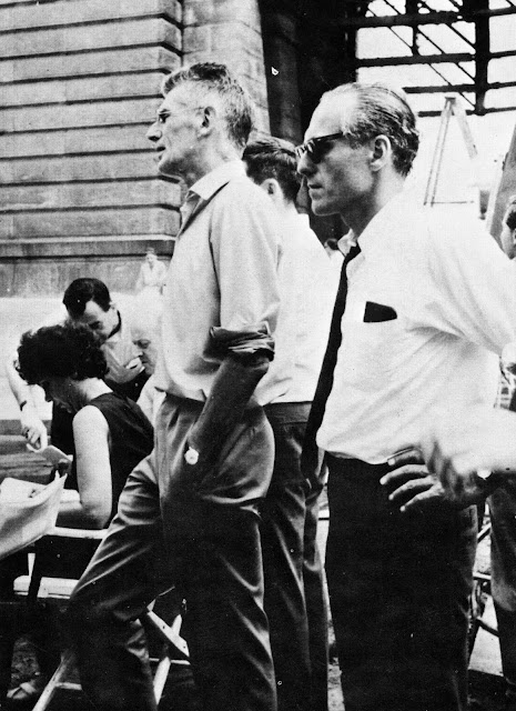 Samuel Beckett and Barney Rosset on set of Film