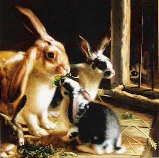 H.H. Couldery, Conejos en la jaula observados por un gato