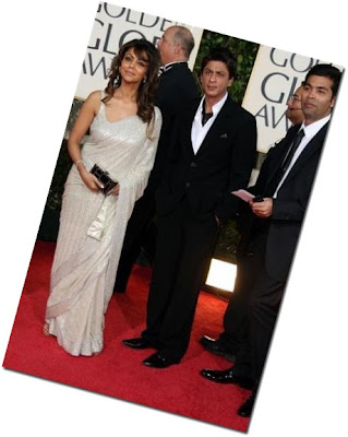 Gauri Khan Shahrukh Khan Karan Johar Golden Globes red carpet