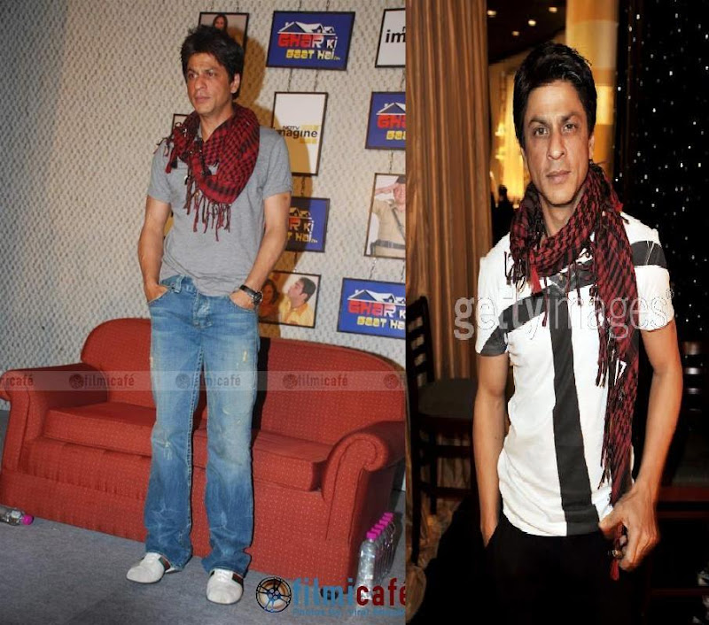 shahrukh khan red scarf gucci sneakers ghar ki baat hai serial launch golden globe rehearsals