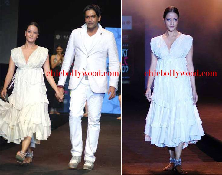 Raima Sen Rocky S Gitanjali Gili Style Fest Fashion show white dress