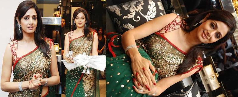Sridevi green saree Kimaya Kimaaya inaugration Chennai