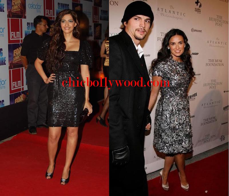 Sonam Kapoor black sequinned sequin dress Slumdog Millionaire Mumbai premiere Demi Moore Huffington Post Pre-Inaugral ball