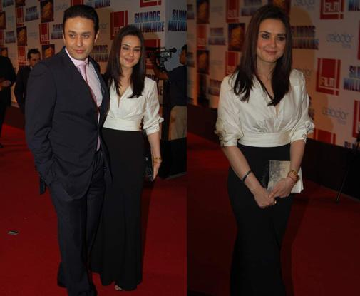 Preity Zinta slumdog millionaire premiere black and white dress
