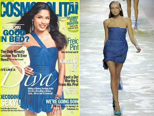 Freida Pinto Cosmopolitan March 09 Bluemarine dress