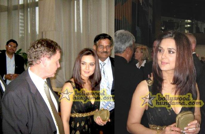Preity Zinta New Zealand parliament with Indian cricket team Notte by Marchesa black gold gown
