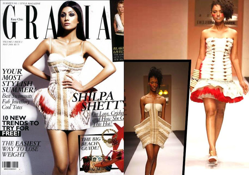 Shilpa Shetty cover girl Grazia India June 2009 Dress Azara Alpana Neeraj designers