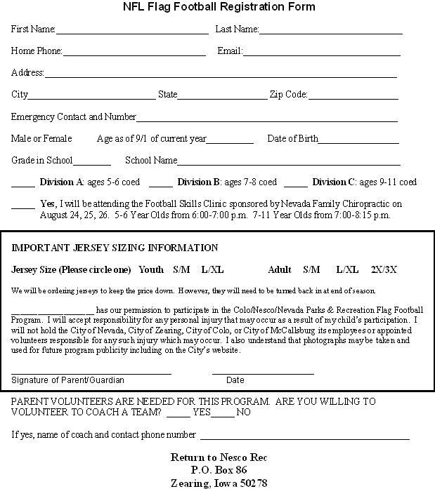 Colo/NESCO Recreation: Flag Football Registration Forms