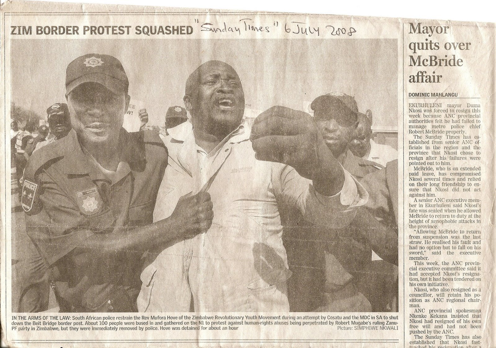WE WERE DEMONSTRATING AT THE BEIT BRIDGE BORDER POST 5th JULY, 2008!!