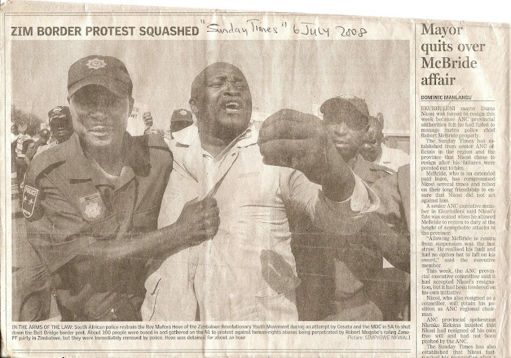 WE WERE DEMONSTRATING AT THE B/ BRIDGE BORDER POST 5th JULY, 2008!!