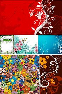 Фоны, элементы из цветов и паттерны в векторном формате EPS