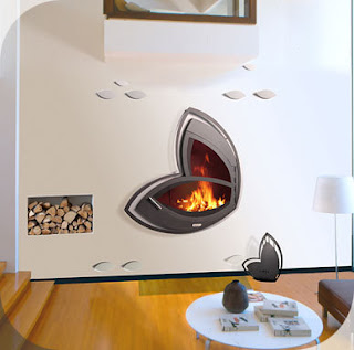 Modern Designer Furniture Blog: Flying flower fireplace.