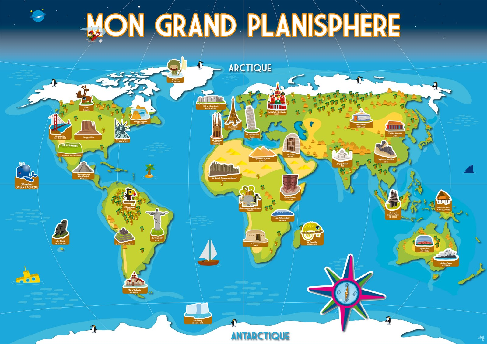 Tef graphiste illustrateur enfant 0609474204 tefgraph planisphere et monuments for Planisphere enfant