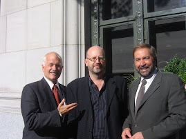 The late Jack Layton, Bill Tieleman and Tom Mulcair