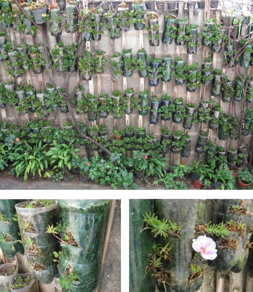 fazer jardim vertical garrafa pet:Jardim Vertical De Garrafas Pet